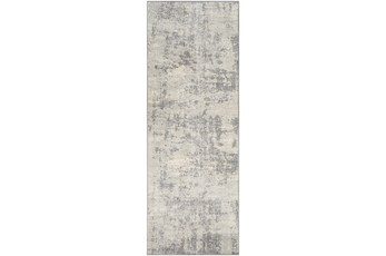 "2'6""x7'3"" Rug-Modern Grey And Cream"