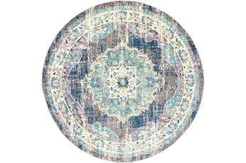 63 Inch Round Rug-Traditional Distressed Multicolored