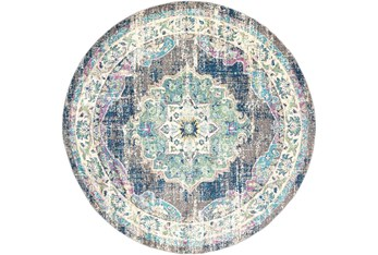 """5'3"""" Round Rug-Traditional Distressed Multicolored"""