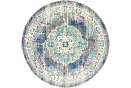 """7'9"""" Round Rug-Traditional Distressed Multicolored"""
