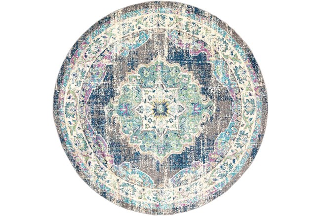"""7'9"""" Round Rug-Traditional Distressed Multicolored - 360"""