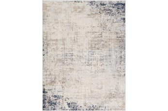 79X108 Rug-Modern Distressed Grey And Blue