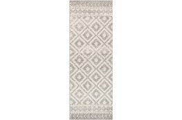 "2'6""x7'3"" Rug-Global Diamond Grey And White"