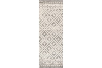31X87 Rug-Global Diamond Grey And White