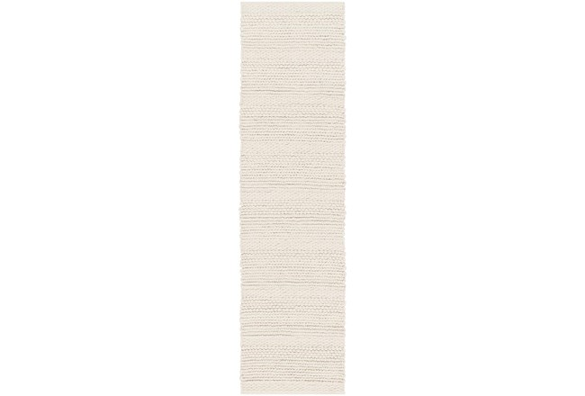 36X144 Rug-Modern Texture Ivory And Charcoal - 360