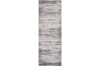 31X91 Rug-Modern Distressed High/Low Khaki And Grey
