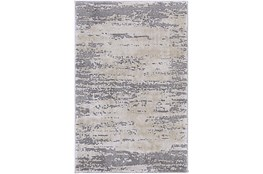 """6'6""""x9'5"""" Oval Rug-Modern Distressed High/Low Khaki And Grey"""