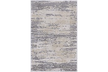 79X114 Rug-Modern Distressed High/Low Khaki And Grey