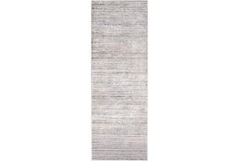"2'6""x12' Rug-Modern Distressed High/Low Khaki And Grey"