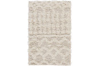 106X144 Rug-Global Plush Shag Cream And Beige