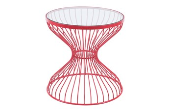 Tulip Red Wire Outdoor Side Table