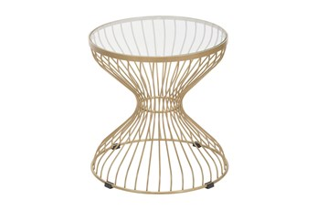 Tulip Gold Wire Outdoor Side Table