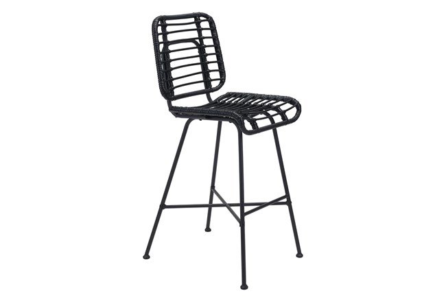 Coral Outdoor Black Bar Chair - 360