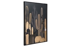 Picture-Black And Gold Cactus Framed Canvas