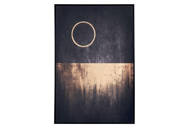 Picture-Black And Gold Moon Framed Canvas - 360