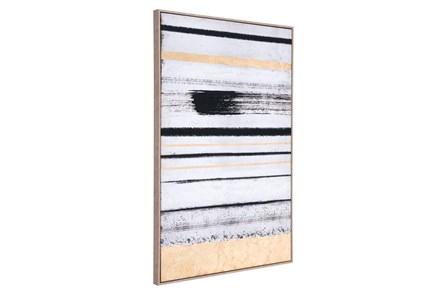 Picture-Black And Gold Brush Strokes Framed Canvas - Main