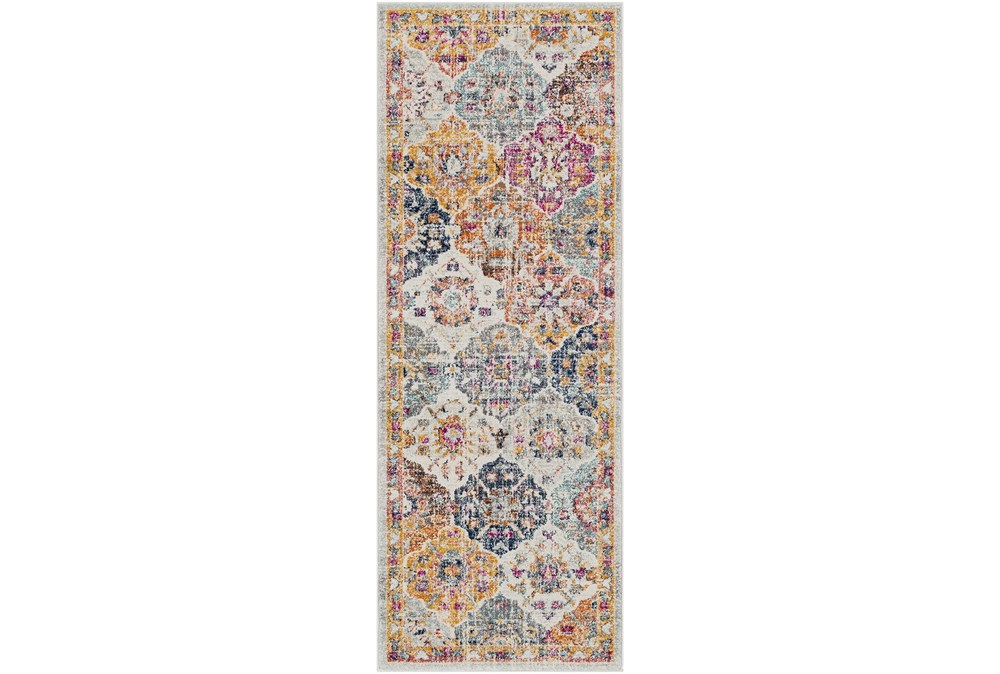 """2'6""""x10'3"""" Rug-Traditional Bold Multicolor"""