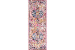 """2'6""""x7'3"""" Rug-Traditional Bright Pink/Multicolored"""