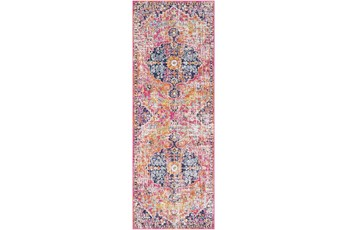 31X87 Rug-Traditional Bright Pink/Multicolored