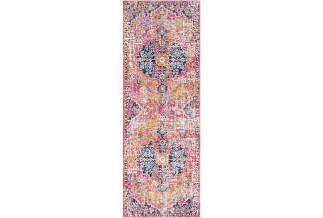 """2'6""""x7'3"""" Rug-Traditional Bright Pink/Multicolored - 360"""