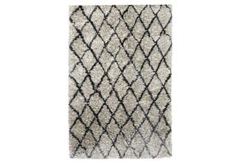 2'x3' Rug-Modern Diamond Light Gray Shag