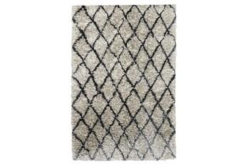 5'x8' Rug-Modern Diamond Light Gray Shag
