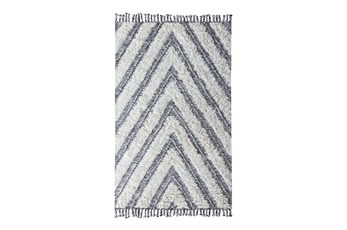 "2'6""x8' Runner Rug-Contemporary Ivory Black Kilim Shag"