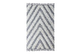 5'x8' Rug-Contemporary Ivory Black Kilim Shag