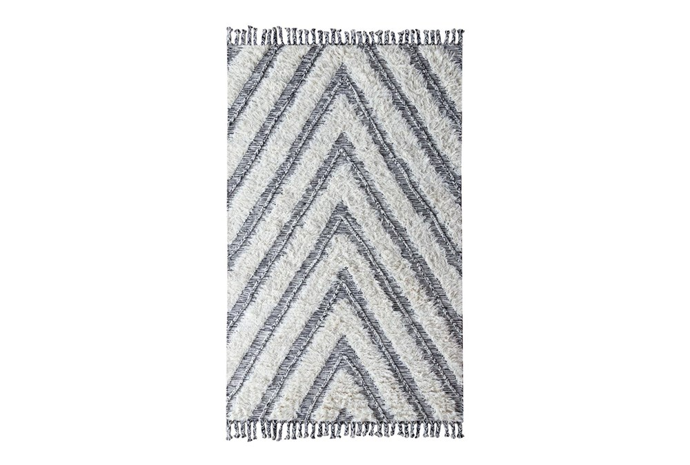 96X120 Rug-Contemporary Ivory Black Kilim Shag