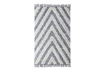 8'x10' Rug-Contemporary Ivory Black Kilim Shag