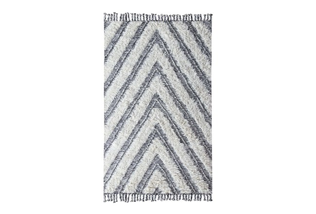 96X120 Rug-Contemporary Ivory Black Kilim Shag - 360