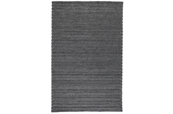 96X120 Rug-Modern Charcoal Plush Wool Blend