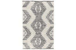 31X96 Runner Rug-Contemporary  Ivory Black Wool Blend