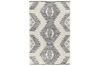 "2'6""x8' Runner Rug-Contemporary  Ivory Black Wool Blend"