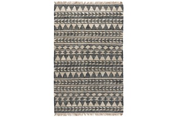 31X96 Runner Rug-Modern Distressed Black Natural