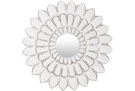 Mirror-Antiqued White Floral 15X15