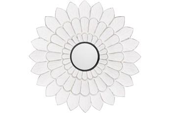 Mirror-Antiqued White Floral 36X36