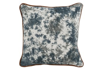 Accent Pillow-Saltwater Blue Tie Dye Leather Piping 18X18