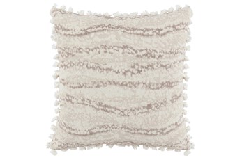 Accent Pillow-Ivory Abstract Stripe Tassel Fringe 22X22