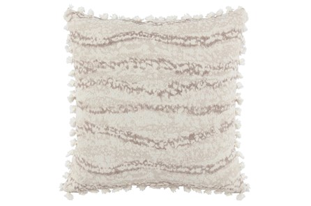 Accent Pillow-Ivory Abstract Stripe Tassel Fringe 22X22 - Main