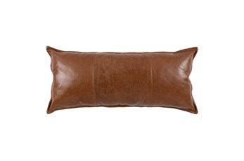 16X36 Cognac Brown Pieced Leather Lumbar Throw Pillow