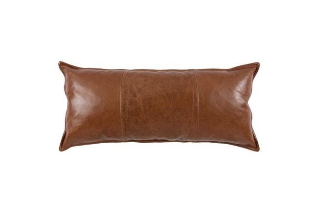 16X36 Cognac Brown Pieced Leather Lumbar Throw Pillow - 360