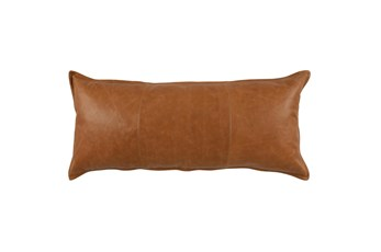 16X36 Chestnut Brown Pieced Leather Lumbar Throw Pillow