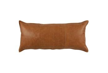 16X36 Chestnut Brown Pieced Leather Lumbar Throw Pillow
