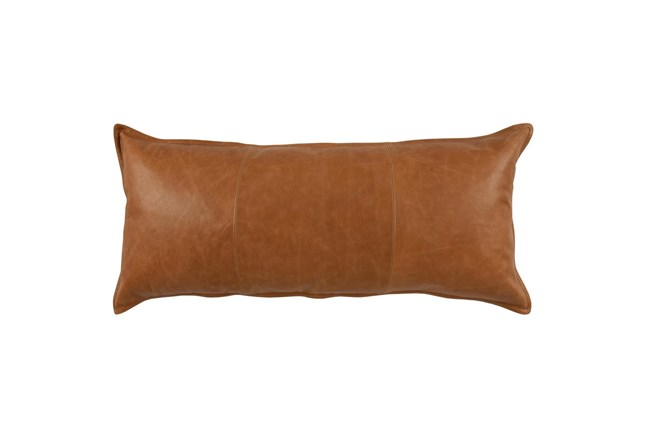 Accent Pillow-Chestnut Pieced Leather 16X36 - 360