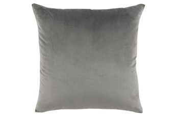 Accent Pillow-Storm Gray Smooth Velvet 22X22
