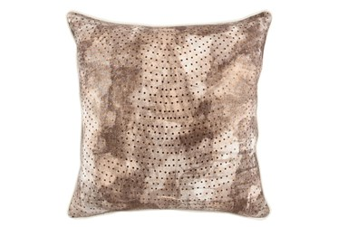 22X22 Fossil Brown Abstract Foil Dots Thorw Pillow