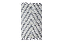 24X36 Rug-Contemporary Ivory Black Kilim Shag