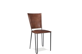Camel Leather Side Chair