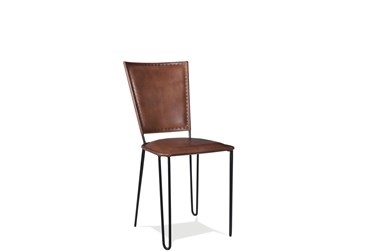 Camel Leather Side Chair Set Of 2